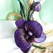 """Украшения ручной работы. Ярмарка Мастеров - ручная работа Кожаная брошь цветок орхидеи """"Стефани"""" ЦВЕТЫ ИЗ КОЖИ Кожаная брошь. Handmade."""