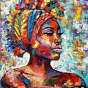 Картины и панно handmade. Livemaster - original item Interior painting Beautiful African Woman. Handmade.