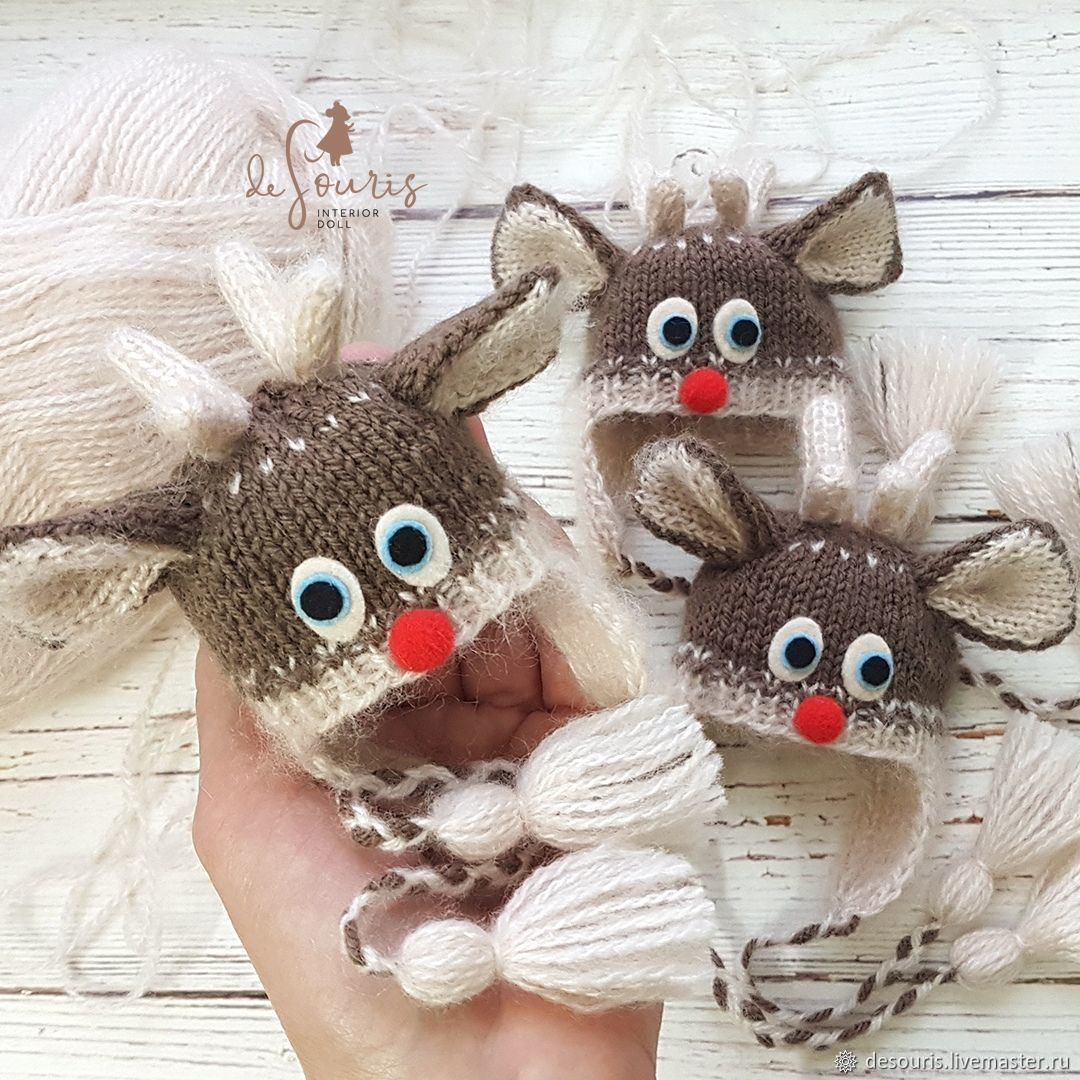 Knitted hat for doll 'Rudolph the Deer' 18 - 20 cm, Clothes for dolls, Voronezh,  Фото №1