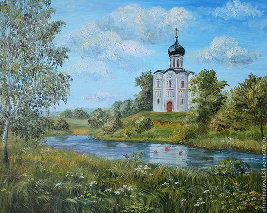 """Пейзаж ручной работы. Ярмарка Мастеров - ручная работа. Купить Картина """"Церковь Покрова на Нерли"""". Handmade. Зеленый, небо, река"""
