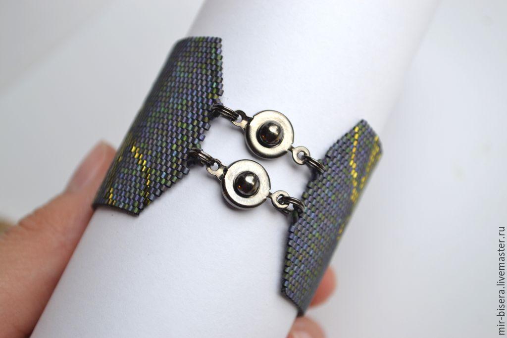 Широкие браслеты из мелкого бисера мастер класс для начинающих #11