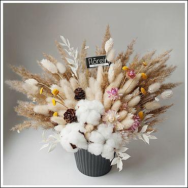 Цветы и флористика ручной работы. Ярмарка Мастеров - ручная работа Композиция из сухоцветов в кашпо. Handmade.