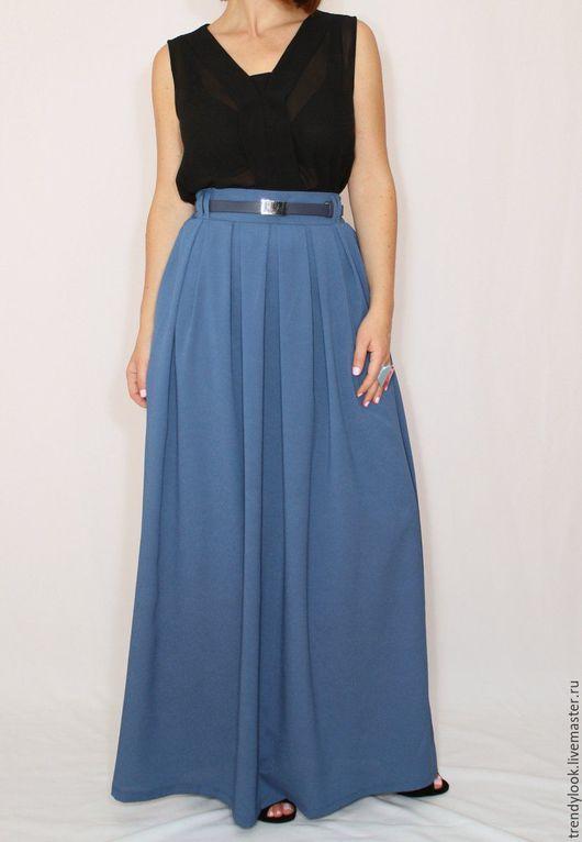 Юбки ручной работы. Ярмарка Мастеров - ручная работа. Купить Серо-синяя юбка, шифоновая юбка, длинная юбка с карманами, юбка в пол. Handmade.