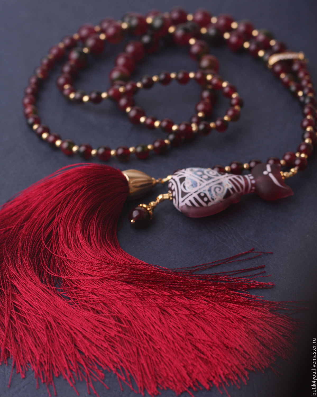Tie the'Cat's tail' with pendant c silk brush fringe, wine, Necklace, Moscow,  Фото №1