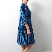 Одежда handmade. Livemaster - original item Dress blue marble velvet trapeze with lace elegant evening. Handmade.