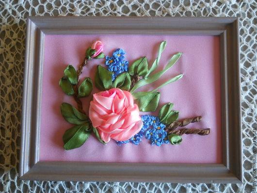 """Картины цветов ручной работы. Ярмарка Мастеров - ручная работа. Купить Картина вышитая лентами """"Пепел розы"""". Handmade. Розовый"""