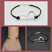 Украшения handmade. Livemaster - original item Heart Bracelet 925 Silver. Leather lace.. Handmade.