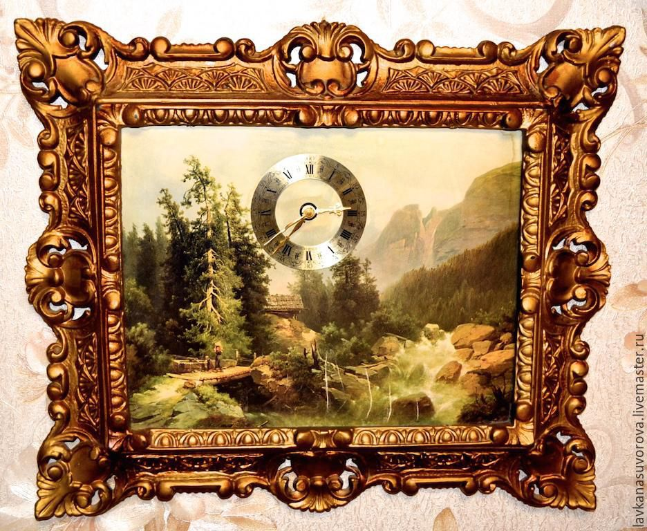 Wall clock-picture of Switzerland quartz 43h37 cm, Vintage interior, Rostov-on-Don,  Фото №1
