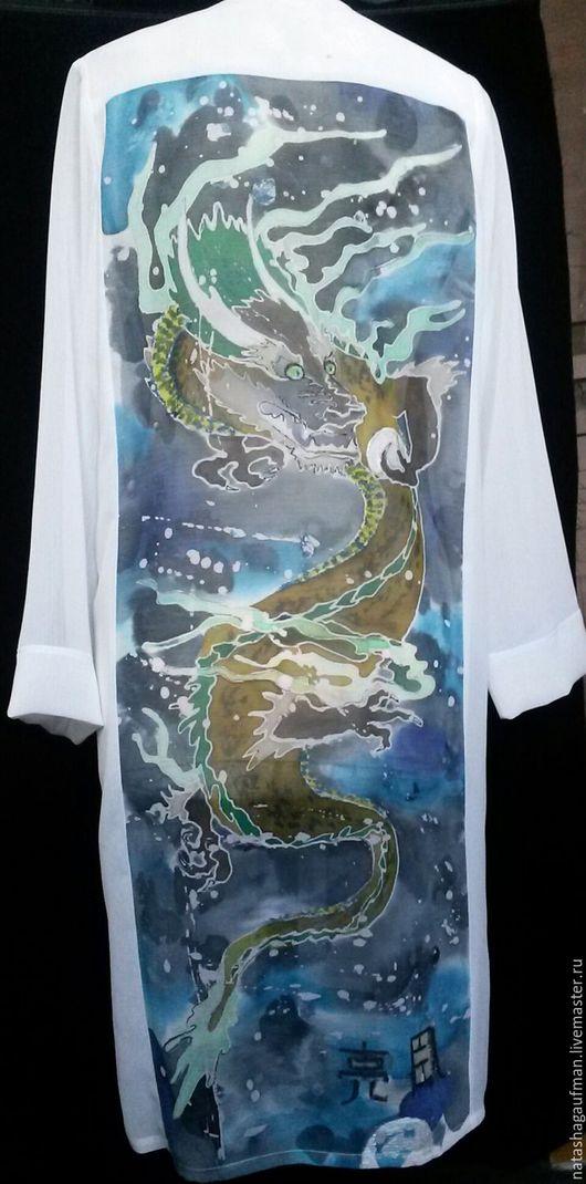 """Блузки ручной работы. Ярмарка Мастеров - ручная работа. Купить Платье-рубашка """"Дракон"""". Handmade. Белый, авторская одежда"""
