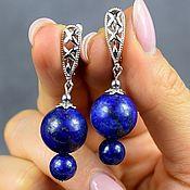 Украшения handmade. Livemaster - original item The author`s work. Earrings natural Lapis lazuli. Handmade.