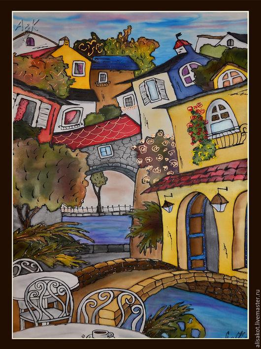 Картина батик `Улицы Сан Ремо` 45х65, Днепропетровск