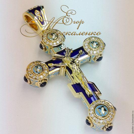 Кулоны, подвески ручной работы. Ярмарка Мастеров - ручная работа. Купить Православный шестиконечный русский крест (сине-голубая эмаль). Handmade.