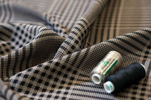 Шитье ручной работы. Ярмарка Мастеров - ручная работа. Купить Шелк Armani. Handmade. Золотой, клетка, итальянские ткани