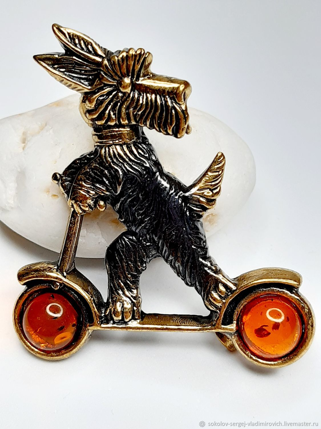 Brooch Dog on a scooter, Brooches, Moscow,  Фото №1