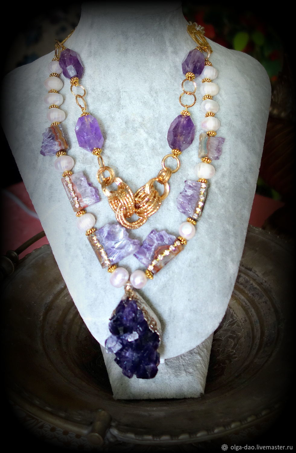 ' Amethysts.'pearl. citrine gold.amethyst brush, Necklace, Moscow,  Фото №1