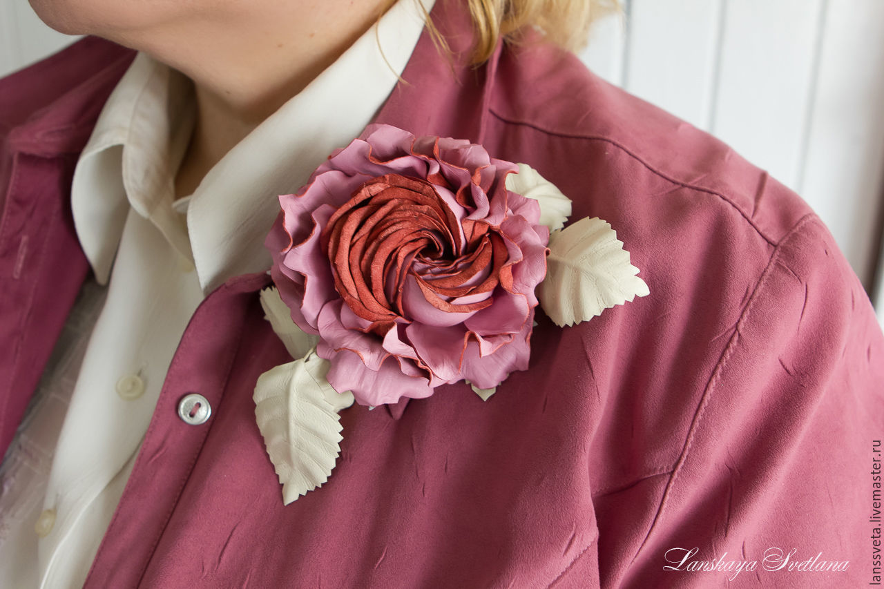 Brooches handmade. Livemaster - handmade. Buy Brooch-clip leather rose infinity. Decoration leather.Flower brooch