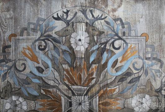 """Этно ручной работы. Ярмарка Мастеров - ручная работа. Купить деревянное панно """"Мандала с оленями"""". Handmade. Серый, ручная работа"""
