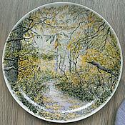 """Тарелки ручной работы. Ярмарка Мастеров - ручная работа """"В осеннем лесу"""" фарфоровая тарелка. Handmade."""