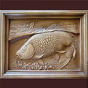 Картины и панно ручной работы. Ярмарка Мастеров - ручная работа Картина резная деревянная Удачная рыбалка. Handmade.
