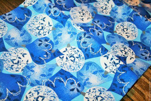 Шитье ручной работы. Ярмарка Мастеров - ручная работа. Купить США Рождественская ткань Хлопок. Handmade. Синий, новогодняя ткань