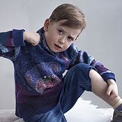 """Работы для детей, ручной работы. Ярмарка Мастеров - ручная работа Валяный пуловер для мальчика """"Ми-ми-мишки"""". Handmade."""
