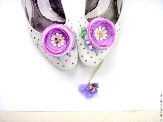 """Заколки ручной работы. Ярмарка Мастеров - ручная работа. Купить Цветы Броши  Заколки , Клипсы для туфель  """" Сиреневая сказка ... """". Handmade."""