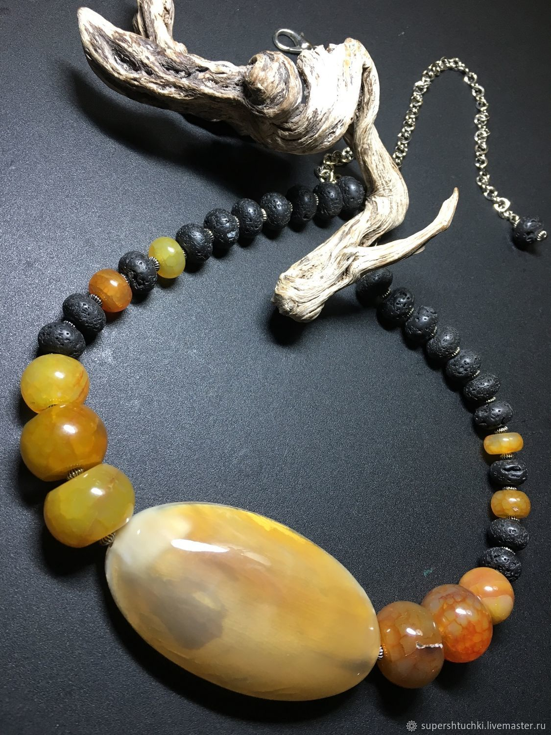 Necklace Ellada agate and lava, Necklace, St. Petersburg,  Фото №1