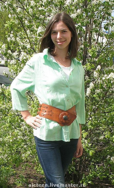 Пояса, ремни ручной работы. Ярмарка Мастеров - ручная работа. Купить Широкий женский пояс из натуральной кожи ручной работы. Handmade.