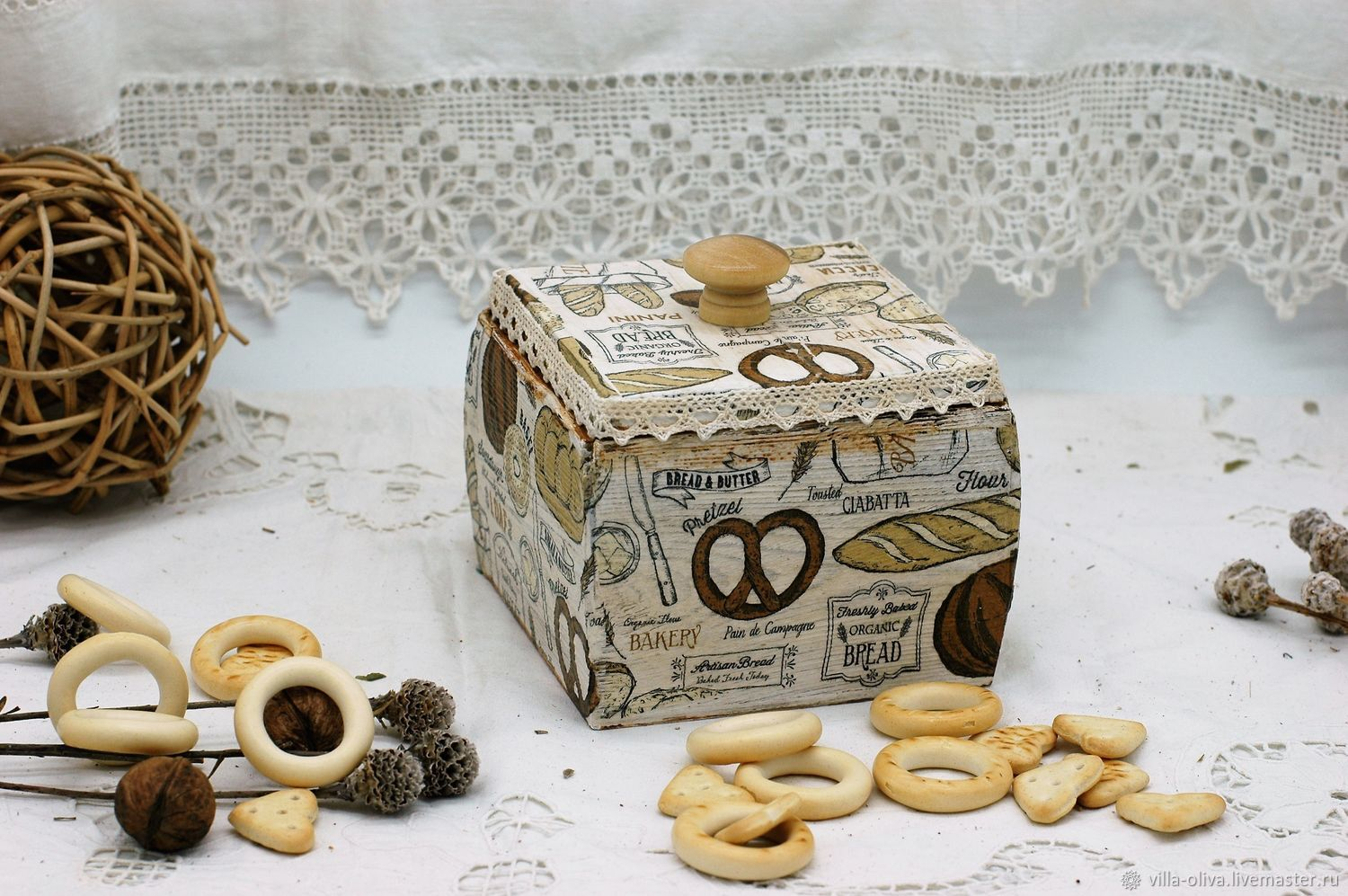 Box-container bakery array of Siberian pine decoupage, Storage Box, Moscow,  Фото №1