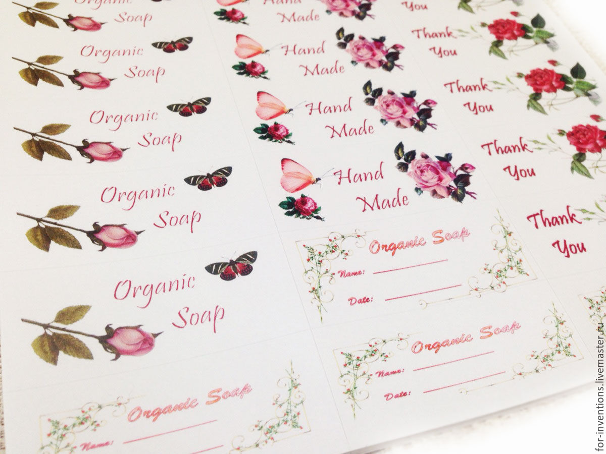 Stickers for soap and cosmetics 30 PCs per sheet, Labels, Moscow,  Фото №1