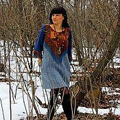 Платье из натуральных шерсти и кожи (60)