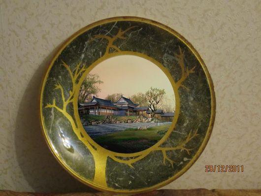 """Тарелки ручной работы. Ярмарка Мастеров - ручная работа. Купить Тарелка """"Закат в Китае"""". Handmade. Стеклянная тарелка, оригинальный подарок"""