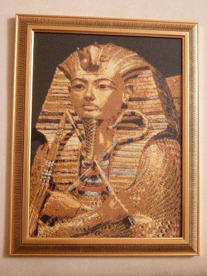 """Фотокартины ручной работы. Ярмарка Мастеров - ручная работа. Купить Картина """"Тутанхамон"""". Handmade. Египет, ручная вышивка, Вышивка крестом"""