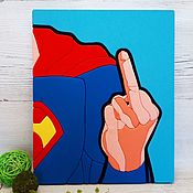 Картины и панно handmade. Livemaster - original item Superman in the style of pop art, picture-panels in the technique kinosage. Handmade.