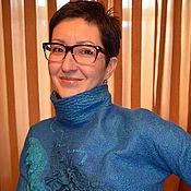Одежда ручной работы. Ярмарка Мастеров - ручная работа свитер валяный Морская волна. Handmade.