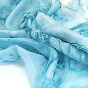 """Аксессуары handmade. Livemaster - original item Шарф батик """"Брызги цвета - теплая морская волна"""" натуральный шелк. Handmade."""