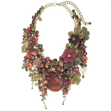 Decorations handmade. Livemaster - original item Necklace, removable flowers, Natural stones and leather, Garnet Bordeaux. Handmade.