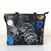 Сумки и аксессуары handmade. Livemaster - original item Women`s leather bag with hand painted Cheshire cat. Handmade.
