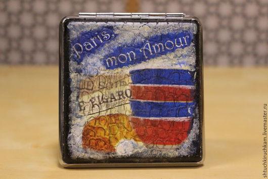 """Подарки для мужчин, ручной работы. Ярмарка Мастеров - ручная работа. Купить Портсигар """"Paris,mon Amour"""". Handmade. Черный"""