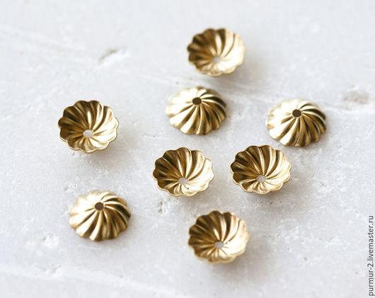 Для украшений ручной работы. Ярмарка Мастеров - ручная работа. Купить 2162_10_Шапочки для бусин 7.5 мм ,Золотые шапочки для бусин, Металл. Handmade.