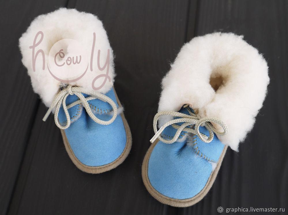 """Детские ботиночки из овчины """"Blue & White"""", Обувь для детей, Лиссабон,  Фото №1"""
