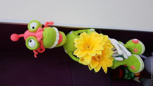 Развивающие игрушки ручной работы. Ярмарка Мастеров - ручная работа. Купить Робот. Handmade. Ярко-зелёный, Пряжа акриловая