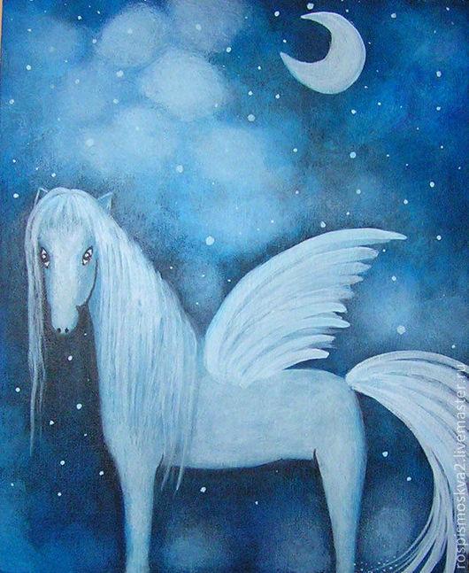 Животные ручной работы. Ярмарка Мастеров - ручная работа. Купить Картина   Лошадка  с  крыльями   лошадь   синий   акрил ночь. Handmade.