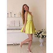 Коктейльное выпускное платье.Корсетное платье.Желтое платье