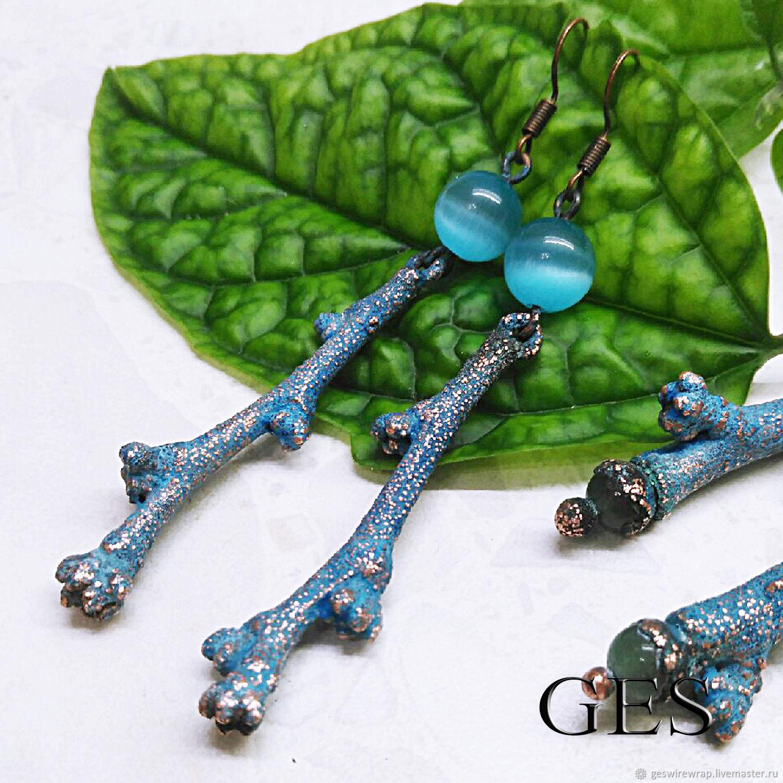 Earrings made of twigs of plum. Electroplating, Earrings, Novosibirsk,  Фото №1