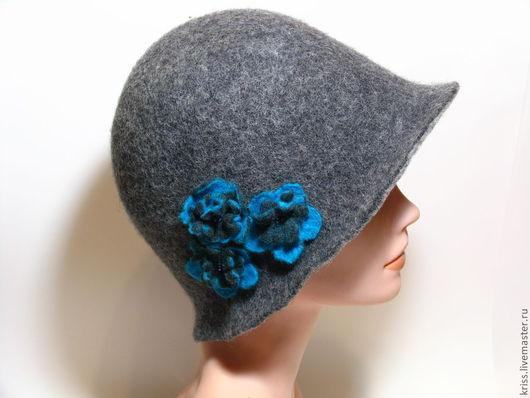 Шляпы ручной работы. Ярмарка Мастеров - ручная работа. Купить шляпка серая с бирюзовыми цветочками. Handmade. Серый, головной убор