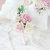 """Свадебный салон ручной работы. Ярмарка Мастеров - ручная работа """"Розовая изящность"""" бутоньерка жениха. Handmade."""