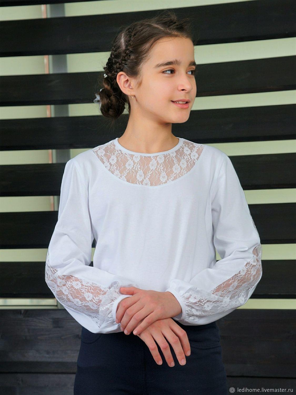 Блузка белая с кружевом для девочки, Блузки и рубашки, Курск,  Фото №1