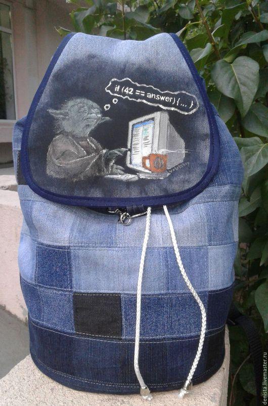 Рюкзаки ручной работы. Ярмарка Мастеров - ручная работа. Купить Рюкзак джинсовый Pixel. Handmade. Рюкзак джинсовый, рюкзак для женщины