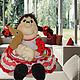 """Кухня ручной работы. Ярмарка Мастеров - ручная работа. Купить """"Танюшка с таксой"""". Кукла-грелка на чайник. Handmade. Ярко-красный"""